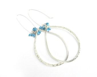 Dangle Earrings, Hoop Earrings, Sterling Silver Earrings, Large Teardrop Earrings, Hammered Earrings, Rustic Jewelry, Turquoise Jewelry