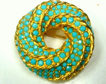 Swirled Turquoise n Gold Circle Pin, 1960s, Graduated GLASS Faceted Stones in a Palm Beach Color Brooch, Timeless, Elegant, Gift Worthy
