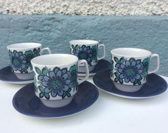 Hostess Tableware teacups John Russell Blue Mood 1960s