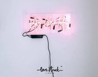 Neon Sign for dessert shop cake studio-Eating Cake Today-free standing neon sign