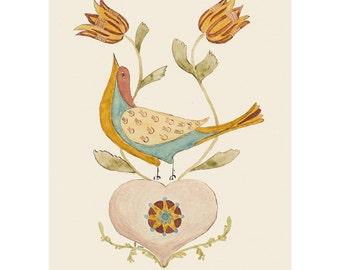 """Folk art frameable greeting card print, """"Skybird"""""""