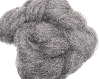 Charcoal Gray Alpaca Roving for Spinning and Felting - 2 ounces