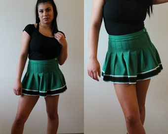 Vintage 90s Green Cheerleading Pleated Mini Skirt
