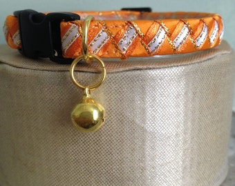 Handmade Orange cat collar with safety breakaway buckle