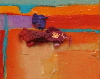"""Abstract impression of a Canyon wall in New Mexico Canyon de Chelly 5""""x5""""x1.5"""" southwestern painting by Jan Smiley"""