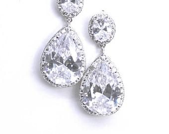 Bridal Earrings Modern Minimalist Pear Drop Wedding Earrings Diamante Teardrop Best Bridal Earrings