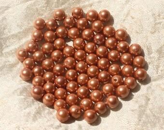 10pc - Pink Orange pearl beads 6mm 4558550020581 balls