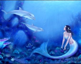 Ultramarine Mermaid and Dolphin Art Print Fantasy Art
