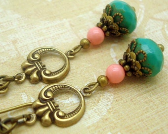 Turquoise Glass & Coral Swarovski Pearl Vintage Inspired Neo Victorian Antiqued Brass Earrings