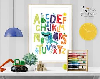 Nursery Alphabet, ABC wall art, Nursery Decor, Baby birthday gift, printable ABC poster, kids room wall art, alphabet art, instant download