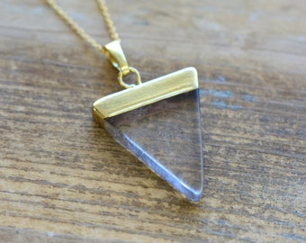 Triangle Crystal Quartz Necklace - Pendant in 24K Plating w/ Stainless Steel Chain - Flag Gemstone Jewelry  (R011)