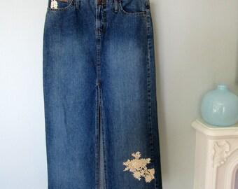 Long Denim Skirt,Jean Skirt, Long Jean Skirt, Denim Maxi Skirt, Summer Skirt, Upcycled Denim Skirt, Blue Jean Skirt, Maxi Jean Skirt