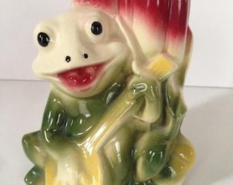 Vintage Pottery Frog Banjo Vase Planter