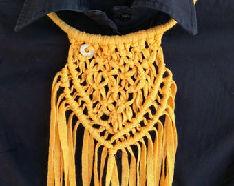 Mustard Macrame Necklace, Cotton Rope Knot Necklace, Boho Necklace, Macrame Jewelry