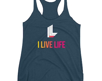 The Blend Tank Top | I Live Life Brand | Cute Gym Workout Yoga Tank Tops For Women Mens Gift Womens Birthday Gift Women's Racerback Tank