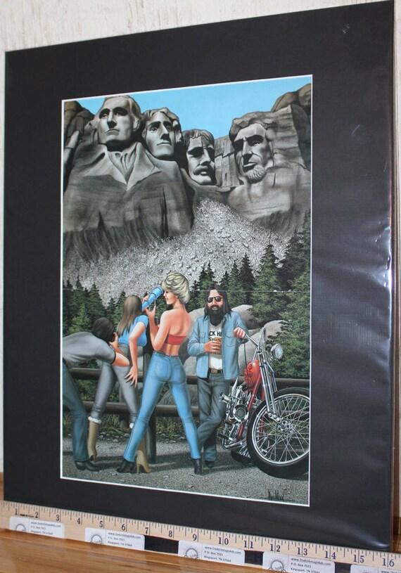 """David Mann """"Mount Rushmore"""" 16'' x 20'' Matted Motorcycle Art #8607ezrxmb"""
