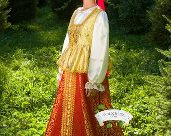 Russian traditional slavic dress for woman Sudarinya, Scenic traditional costume, Brocade dress, Folk dress