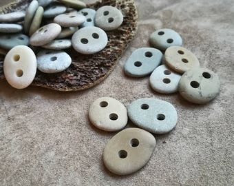 Oval beach pebble buttons 1,5-2cm 30 pcs Handmade stone buttons Drilled pebbles