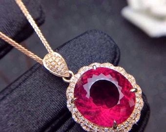 Rubellite Pendant Eye Clean Rubellite Tourmaline Faceted Oval 14.5 x 13.3 MM Diamonds 18K Rose Gold Pendant Jewelry
