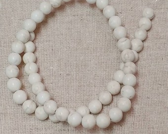 Natural Turquoise Beads Strands, Ivory, Round, 8 mm, approx 48 pcs / Strand, Jewellery Supplies, Destash