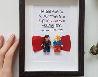 Anniversary Birthday Valentine funny geeky Superhero Superman Super girl Mum and Dad Boyfriend Girlfriend wife husband Lego Gift