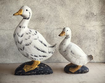 Wooden Duck Statues Mom and Baby Duck Folk Art, Primitive Decor, Rustic Decor