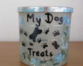 ON SALE Dog Treat Container,handpainted,with bone, little foot prints, floral design, great Birthday gift, Housewarming, gift for her,