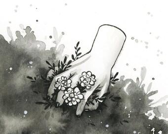 Inktober- Hand - Original ink painting - 10x10cm