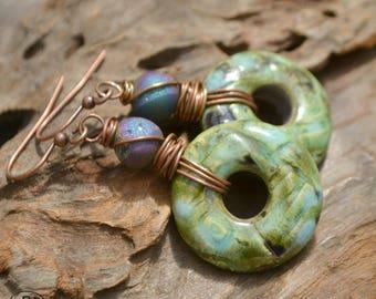 Ceramic and Druzy Agate Earrings