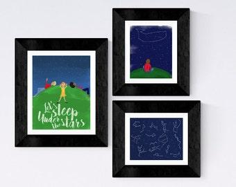 SET OF THREE coordinating Nursery prints - Stars and constellations -stargazing watercolor illustration - let's sleep under the stars