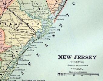 1888 Antique Map of New Jersey