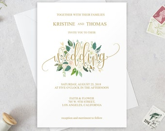 Gold Wedding Invitation Template, Wedding Invitation Set, Printable Wedding Invitations, Wedding Invitation Download, Floral Wedding, BD6047