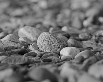 Black and White Cape Cod Photograph, Beach Pebbles, Coastal Wall Art, Beach Print, Seashore Decor, Bedroom Art, Bathroom Print, Office Decor