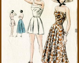 1940s 40s vintage Vogue sewing pattern bust 34 crop top playsuit skirt beach romper bust 34 b34 repro