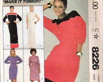 "Vintage 1982 McCall's 8226 Dress & Sash Sewing Pattern Size 8,10,12, Bust 31 1/2"", 32 1/2"", 34"" UNCUT"
