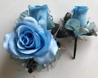 Bright Blue Silk Corsage Set (New Bigger Flowers )