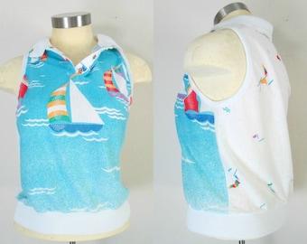 Sailboat Summer Crop Top Sleeveless Cotton Knit Pullover Tank