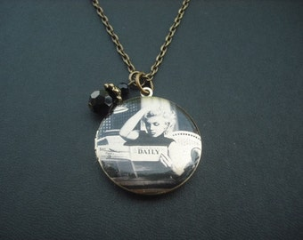 SALE - Marilyn Monroe Reading Newspaper locket  necklace - Monochromatic