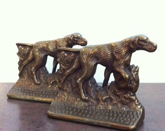 Vintage Dog Bookends - Cast Metal Pointer Dogs - Office Library Decor - Bronze Tone Book Ends