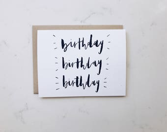 A2 Card 'Birthday' // Happy Birthday, Hand Lettered Greeting Card