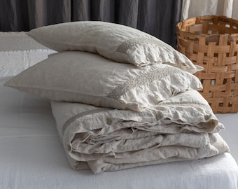 LINEN DUVET COVER set of duvet cover and pillowcases with lace. Natural French linen bedding set. MOOshop new *99