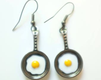 Earrings dangle fried egg