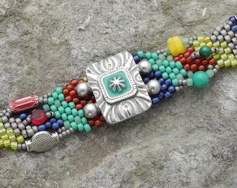 Bijoux - Bracelet - tissage - méditation - BOHO en perles tissage Peyote sous forme libre