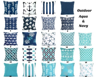 OUTDOOR Aqua Navy Pillow Covers, Beach Decor, Nautical Cushions, Aqua Navy White Nautical Pillows Patio Boat Sun Room ALL SIZES Mix & Match