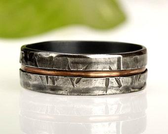 Men's ring, Unique Men's ring, Men Wedding Band, Unique Men Ring, Men's wedding ring, Gift for men, Silver & Copper Ring, RS-1081