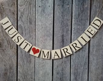 JUST MARRIED banner, just married sign, wedding sign, wedding banner, wedding decorations, wedding photo prop, wedding car sing, wedding day
