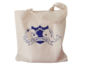 Narwhal Unicorn Tote Bag - TEAM MAGIC Priont on a Natural Canvas Tote Bag