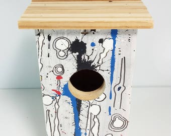 Rustic hand crafted bird house raw wood colorful bird house 9 1/2 inches