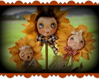 Primitive Doll pattern, E-Pattern, Sunflower Pot Girls, Sunflowers, Cloth doll pattern, sewing pattern, Digital download pattern, Spring