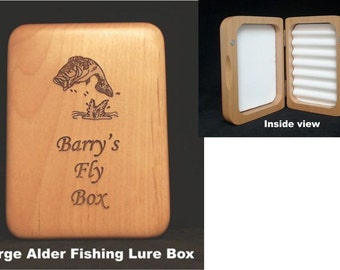 Personalized Fly Box, Birthday, Valentine's Day Gift, Groomsmen Gift, Fishing Lure box, Dad's Fly Box, Fisherman's Gift, Wood Fly Box